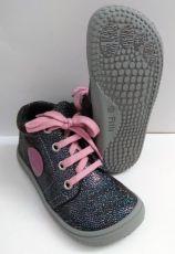Filii barefoot - GECKO velours glitter ocean laces fleece M