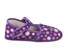 Beda barefoot - užší bačkorky suchý zip -fialové kvítko