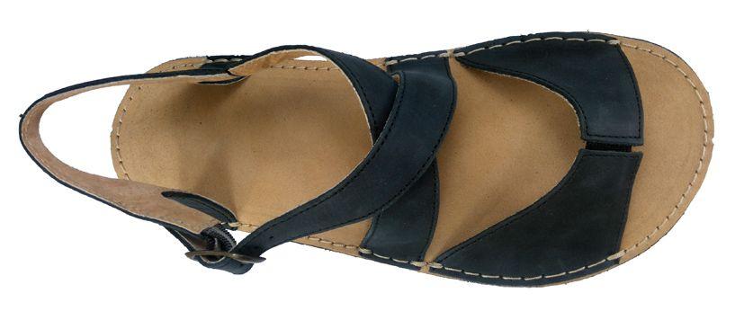 Barefoot Barefoot dámské kožené sandále černé ORTOplus Barefoot bosá