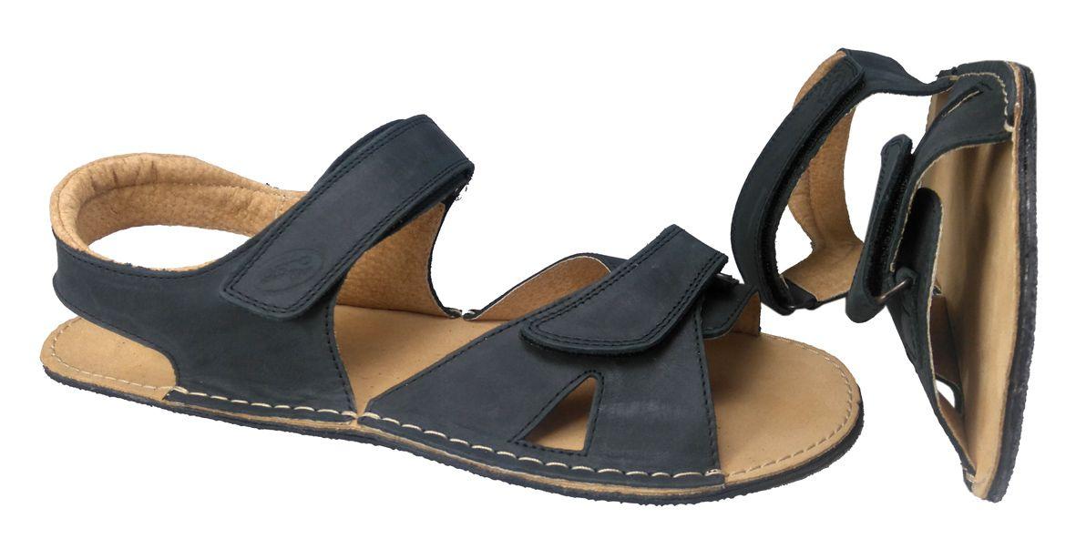 Barefoot Pánské, barefoot, kožené sandále černé ORTOplus Barefoot bosá