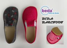 Barefoot Beda barefoot - papučky šedé s nápisy bosá
