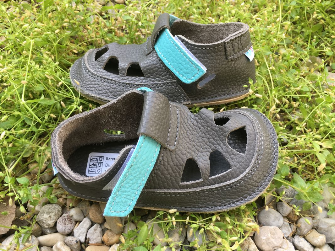 Barefoot Baby bare shoes Sandálky Blue Beetle SUMMER PERFORATION bosá