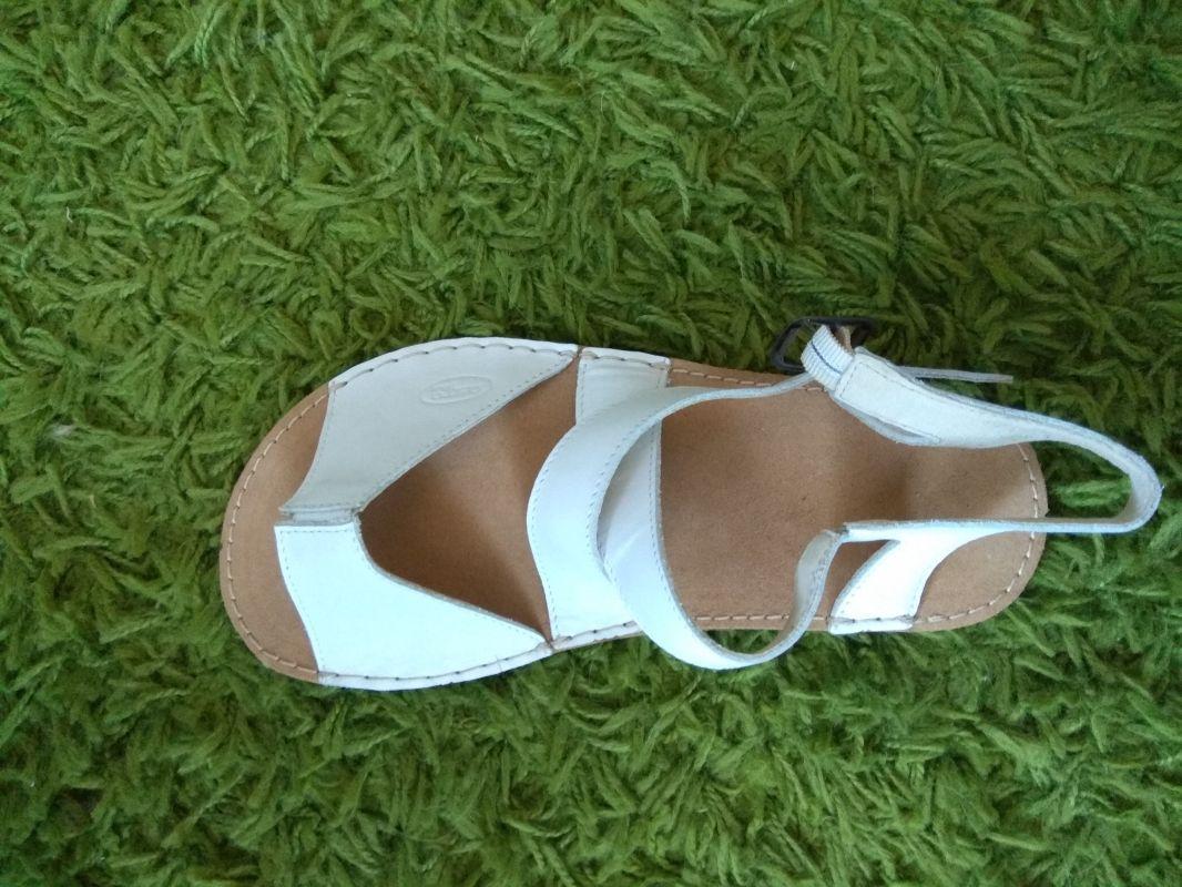 Barefoot Barefoot dámské kožené sandále bílé ORTOplus Barefoot bosá