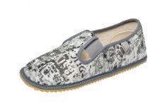 Beda barefoot - papučky šedé s nápisy