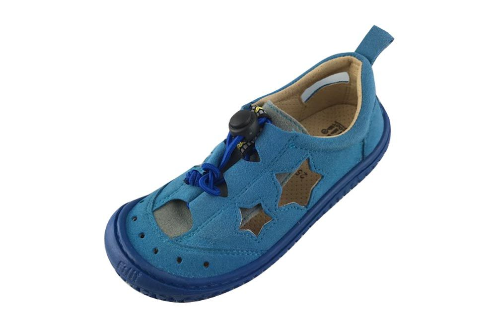 Barefoot Filii barefoot sandály SEA STAR vegan quick lock textile turquoise/blue bosá
