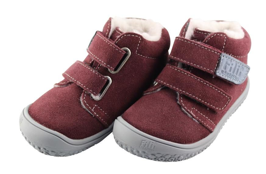 Barefoot Filiibarefoot- CHAMELEON velours berry velcro wooly M bosá