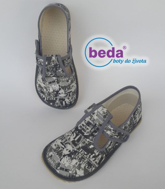 Barefoot Beda barefoot - bačkorky suchý zip - šedé s nápisy bosá