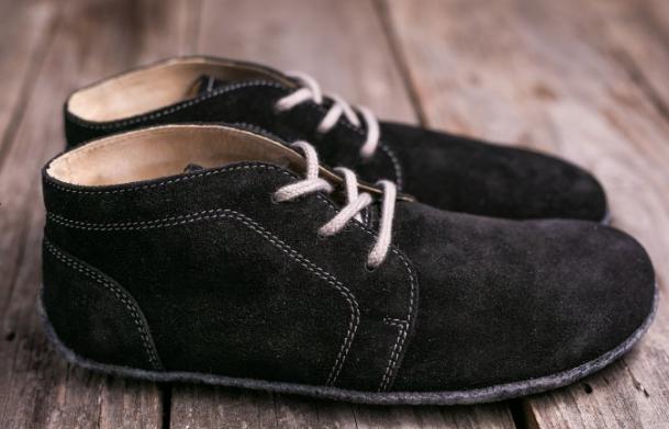 Barefoot Lenka Barefoot kotníčkové kožené boty -černé Be Lenka bosá