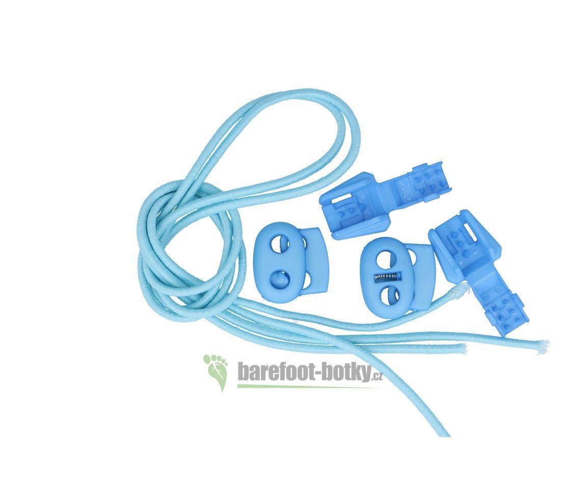 Barefoot Elastické tkaničky Easy tie světle modré bosá