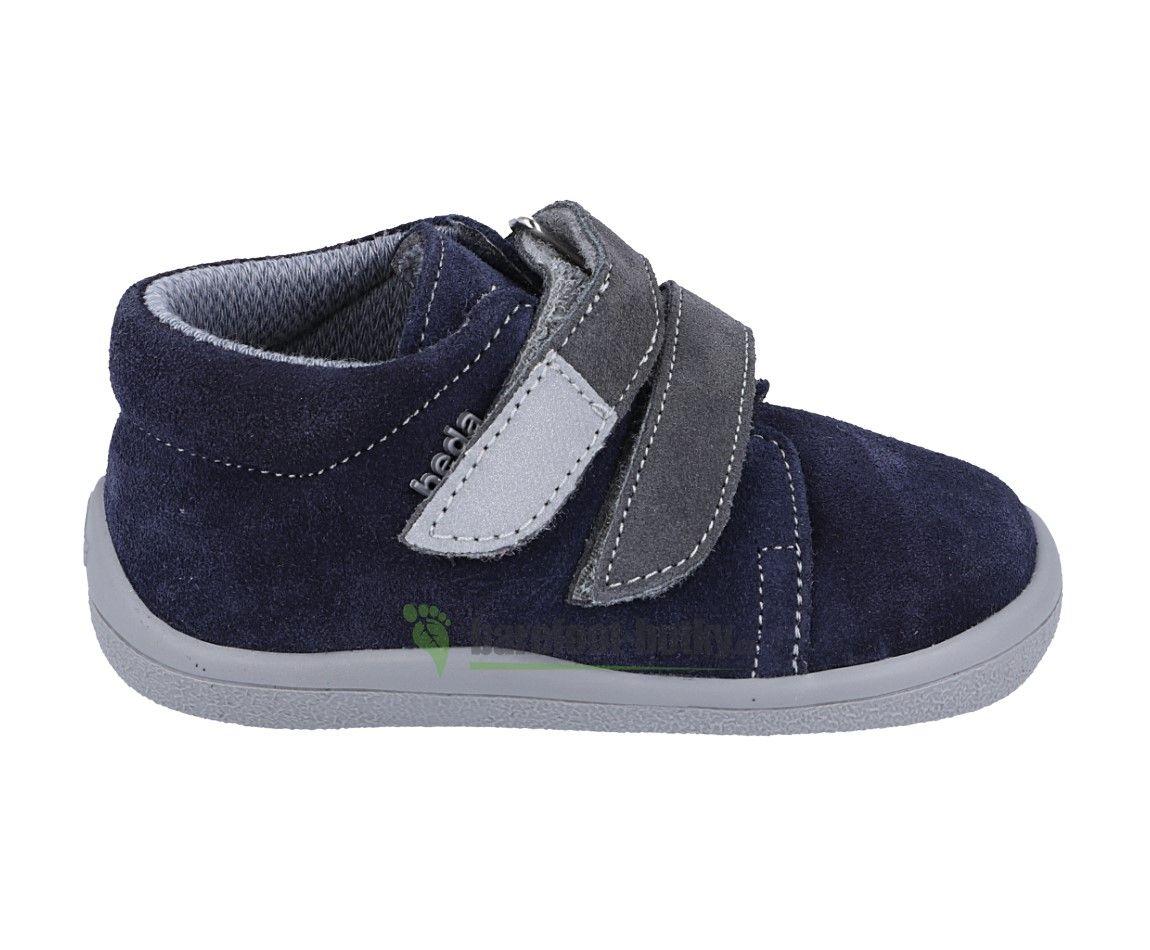 Barefoot Beda Barefoot Lucas s modro-šedé - celoroční boty s membránou bosá