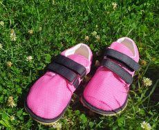 Beda barefoot tenisky se suchým zipem - růžové se světlou podrážkou