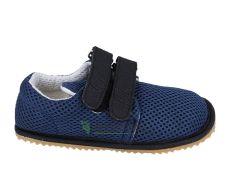 Beda barefoot tenisky se suchým zipem - tmavě modré se světlou podrážkou