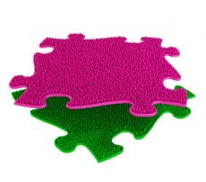 Ortopedická podlaha MUFFIK puzzle Tráva tvrdá | ružový, zelená