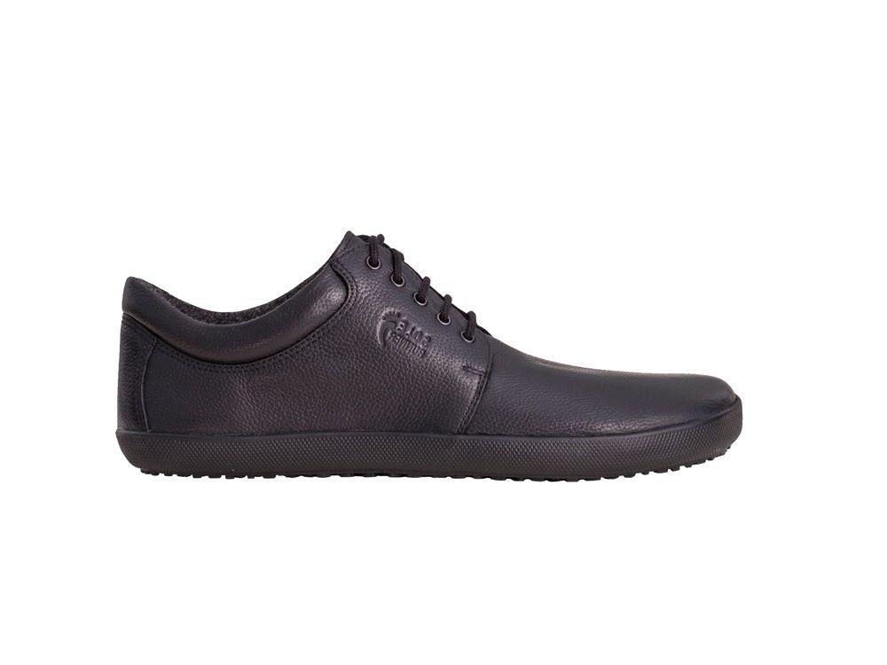 Barefoot Sole runner barefoot polobotky Kari Black Plain Leather Unisex bosá
