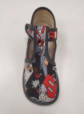Barefoot Beda barefoot - užší bačkorky suchý zip - comics bosá