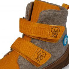 Barefoot Dětské barefoot botičky Affenzahn Minimal Midboot Wool Tiger - Brown/Yellow bosá