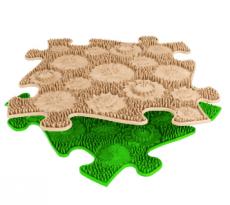 Ortopedická podlaha MUFFIK puzzle Lúka mäkka | béžové, svetlo zelený