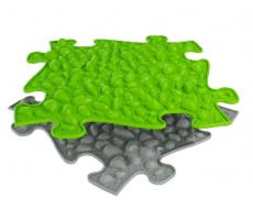Ortopedická podlaha MUFFIK puzzle Oblázky tvrdé | šedé, svetlo zelený