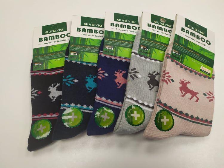 Barefoot Bambusové ponožky se sobem AURA VIA - dámské bosá