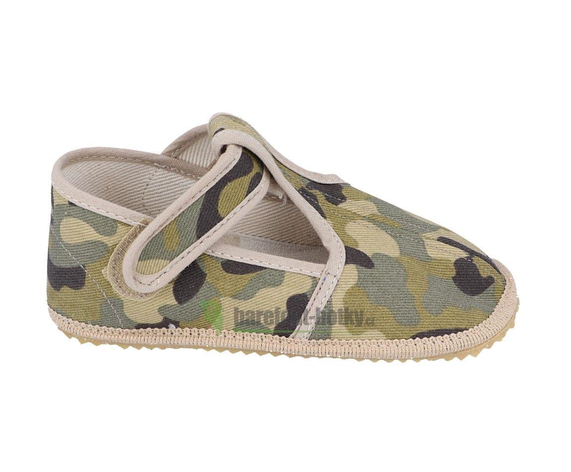 Barefoot Beda barefoot - užší bačkorky suchý zip - vojenské bosá