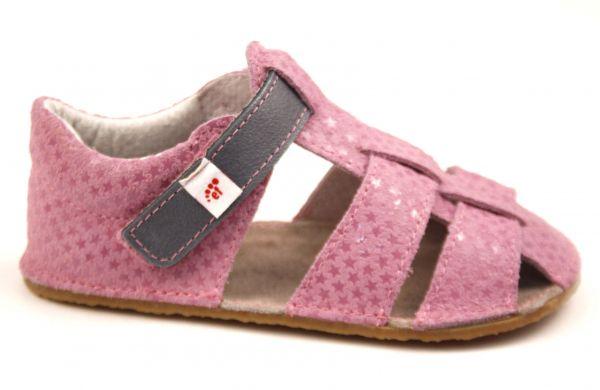 Barefoot Ef barefoot sandálky - růžové s šedou bosá