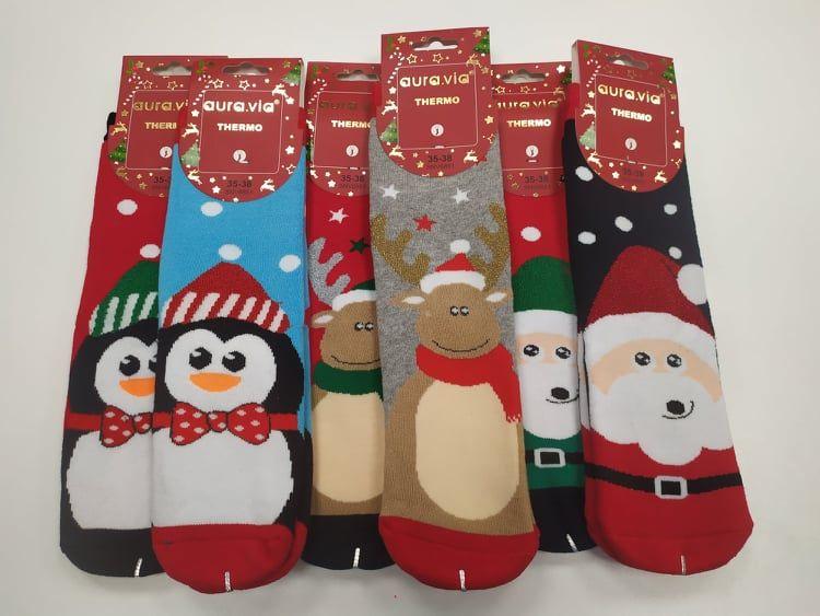Barefoot Termo ponožky vánoční s obrázky - dámské bosá