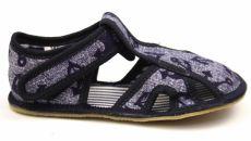 Ef barefoot papučky 386 džínové s kotvičku - otevřené