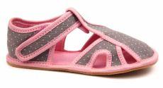 Ef barefoot papučky 386 šedo-růžové - otevřené