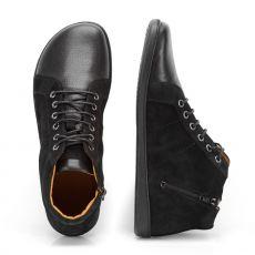 Barefoot Kožené boty ZAQQ QORE Mid Black bosá