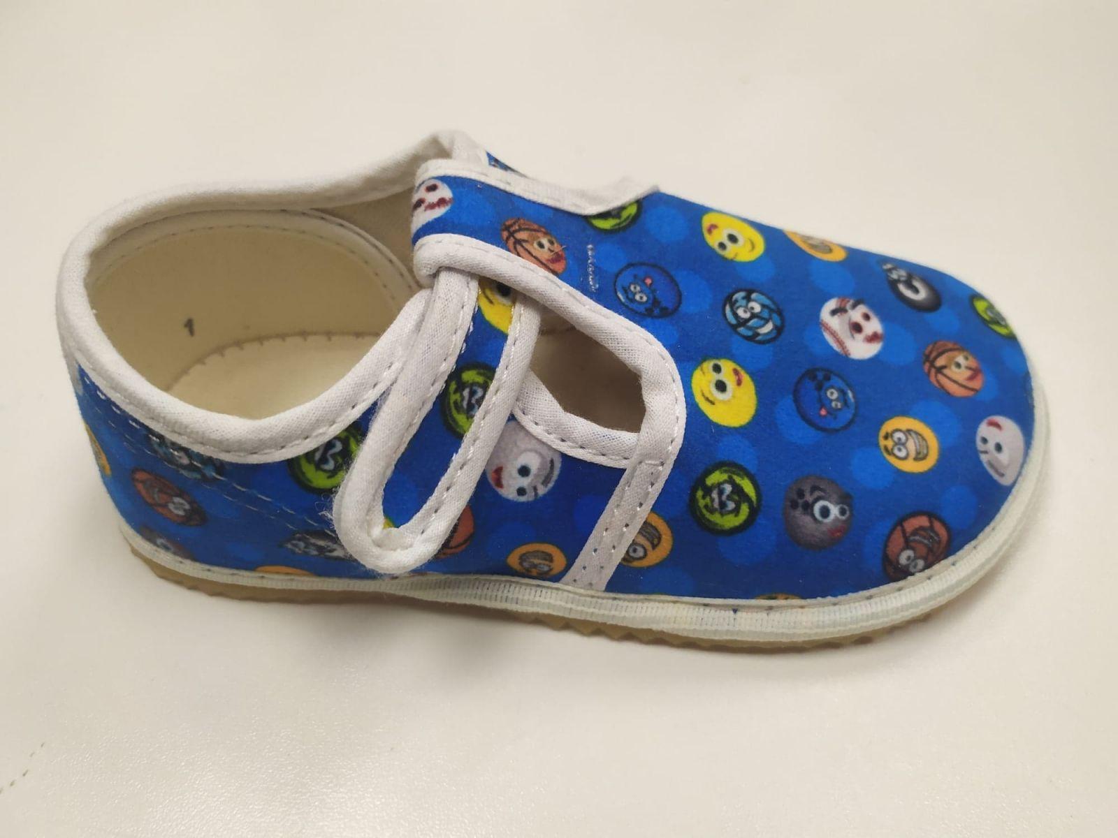 Barefoot Jonap papučky modré s míčky bosá