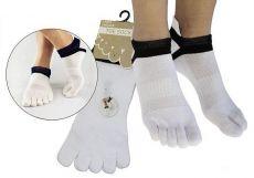 Prstové ponožky pre dospelých Prstan 01 - biela | 36-41
