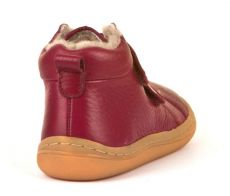 Froddo barefoot zimné členkové topánky bordeaux s pravým kožúškom