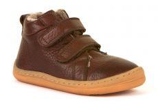 Froddo barefoot zimné členkové topánky brown s pravým kožúškom