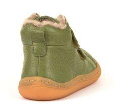Froddo barefoot zimné členkové topánky olive s pravým kožúškom