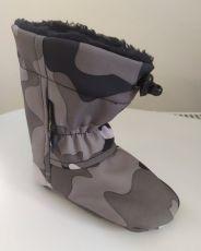 Softshellové capáčky - šedý maskáč   12 cm, 14 cm