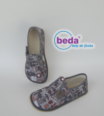 Beda barefoot - bačkorky suchý zip - šedé se znaky