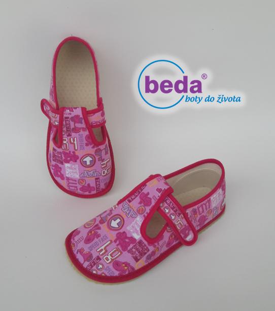 Barefoot Beda barefoot - bačkorky suchý zip - růžové se znaky bosá