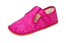 Beda barefoot - bačkorky suchý zip - růžová batika