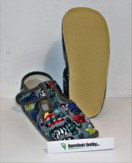 Beda barefoot - užší bačkorky suchý zip -grafitti