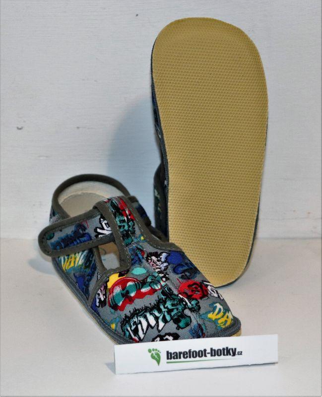 Barefoot Beda barefoot - užší bačkorky suchý zip -grafitti bosá
