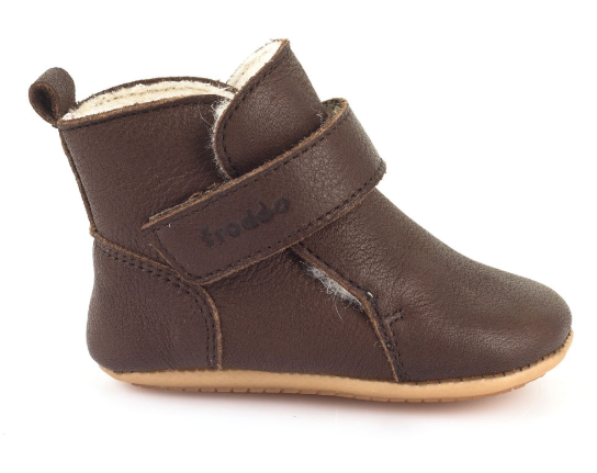 Barefoot Froddo Prewalkers zimní brown sheepskin bosá