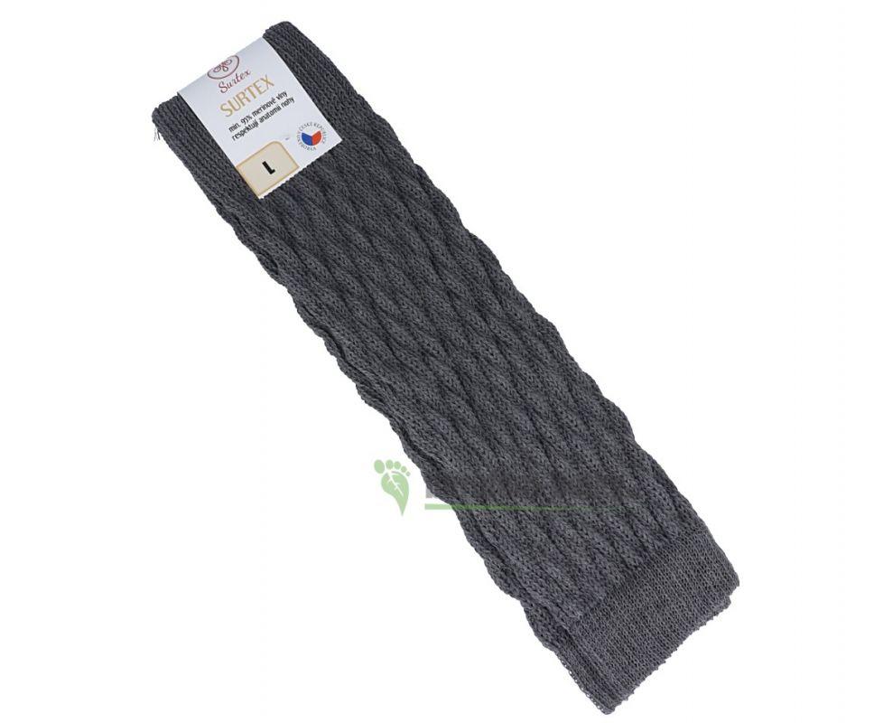 Barefoot Surtex návleky tmavé 95% merinové vlny silné šedé bosá