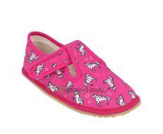 Beda barefoot - bačkorky suchý zip -růžová s koníkem