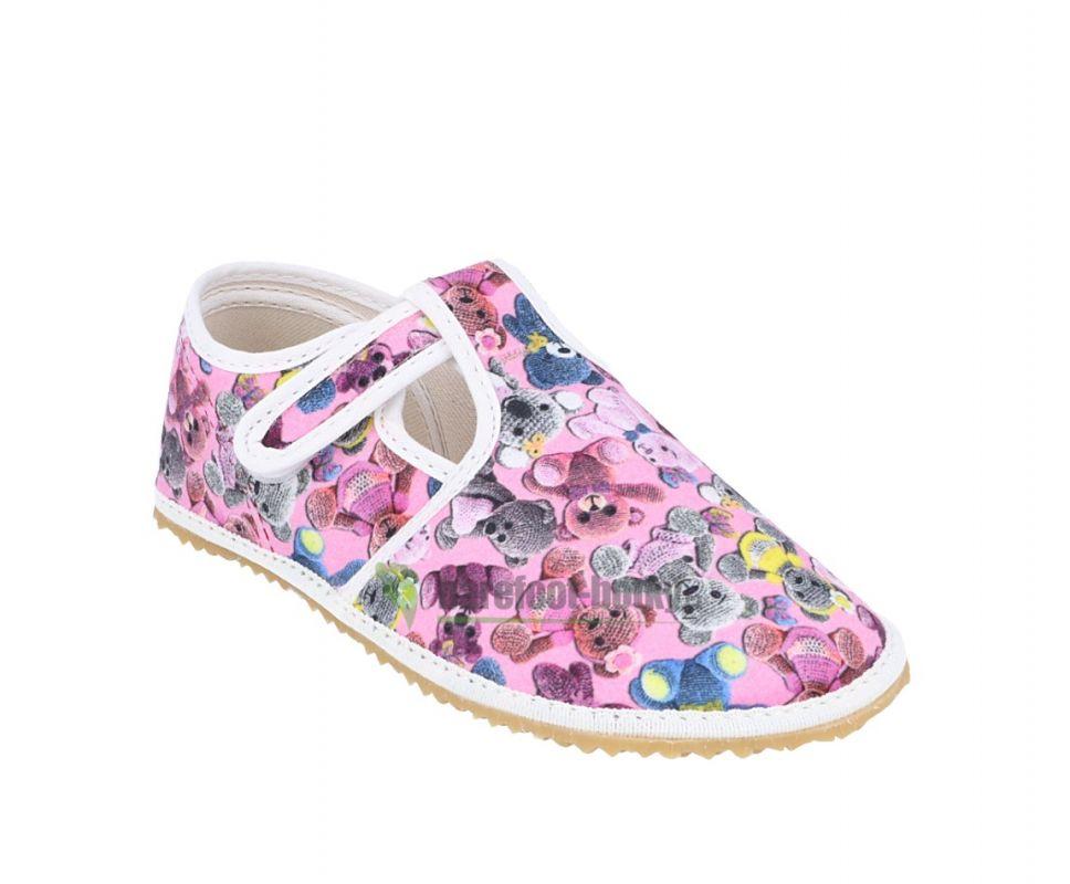 Barefoot Jonap papučky růžové s medvídky bosá