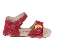 Ortoplus barefoot sandálky D203 červené se třpytkami - sluníčko a měsíček